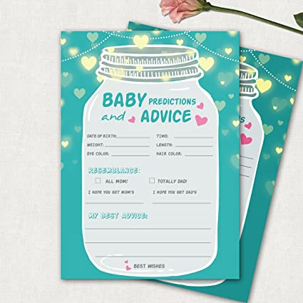 Amazon Com 50 Baby Shower Prediction And Advice Cards Gender