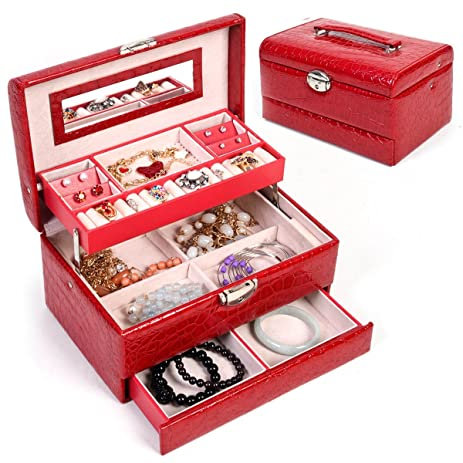 Amazoncom Jewelry Box Storage Organizer Case Ring Earring Necklace