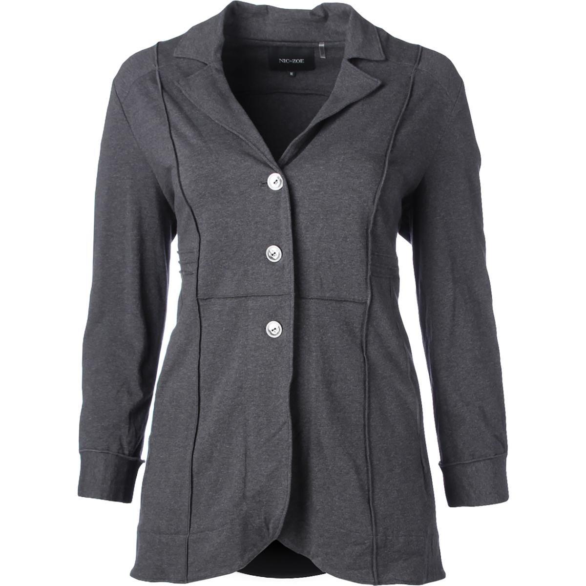 Nic+Zoe Womens Plus Seamed Button Basic Jacket Gray 1X