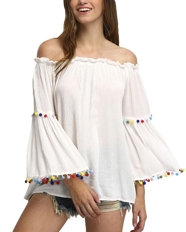 Auxo Mujer Manga Larga Volantes Blusa Blanca Playa Tops sin Hombros Camisas Casual Blanco ES 48/Asain XL: Amazon.es: Ropa y accesorios