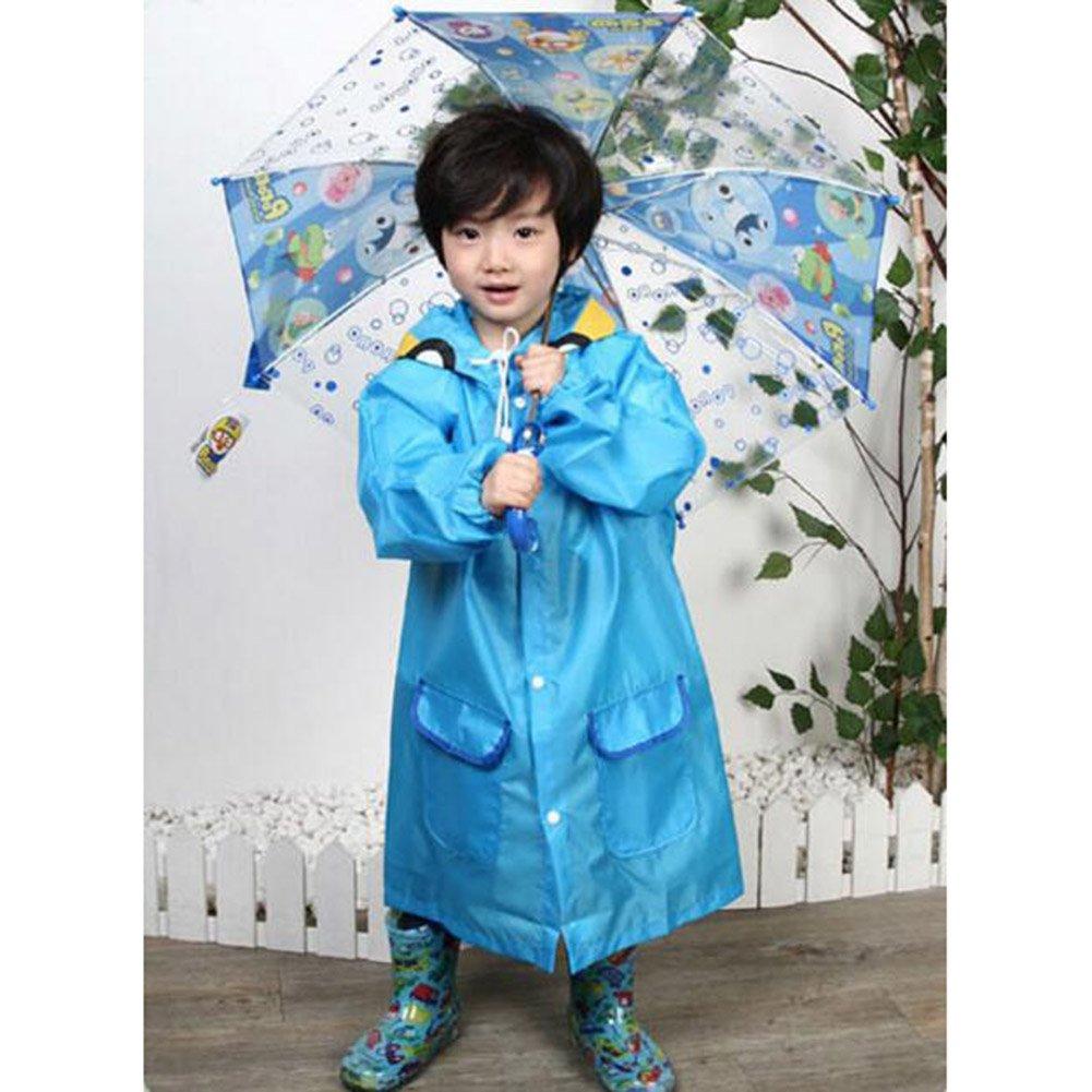 Blue Highdas Windproof Rainproof Children Rain CapeKids Thick Travel Poncho for Boys /& Gilrs M//9-14 Years Old