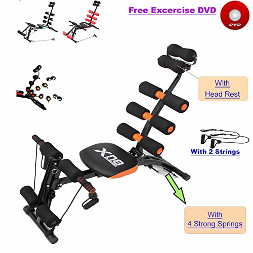 Xn8 Sports Abs Rocket Chair Abdominal Fitness Multi 6 Gym Trainer Exerciser Crunches Machine Bench Home Gym Exercise Workout Training