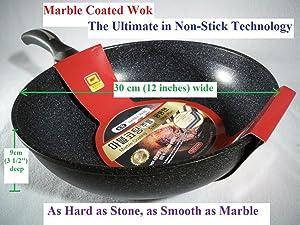 Ceramic Marble Coated Cast Aluminium Non Stick Wok 30 cm (12 inches)