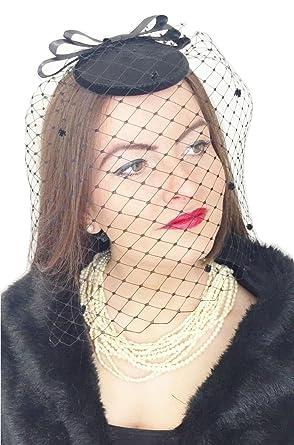 Lady Lavender Black Widow Womens Ladies Black Handmade HAT Fascinator  Headpiece Funeral Widow Wedding Races Veil f800843785a