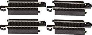 """Bachmann Trains - Snap-Fit E-Z TRACK 3"""" STRAIGHT TRACK (4/card) - STEEL ALLOY Rail With Black Roadbed - HO Scale"""