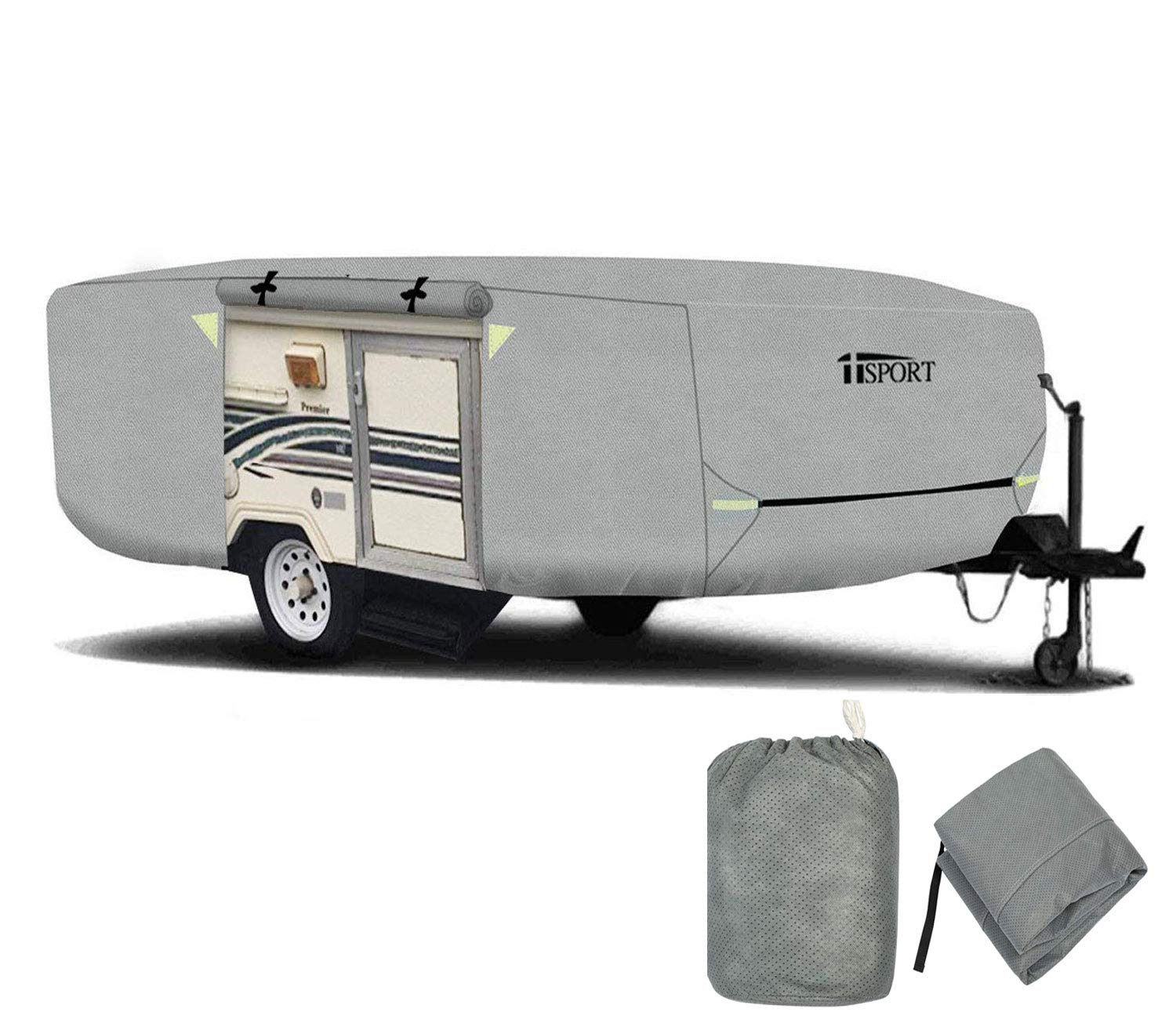 iiSPORT Extra-Thick 4 Layers Pop-Up//Folding Camper Trailer Cover Fits 10-12 Long Zipper Access Ripstop Anti-UV RV Covers w//Air Vent System