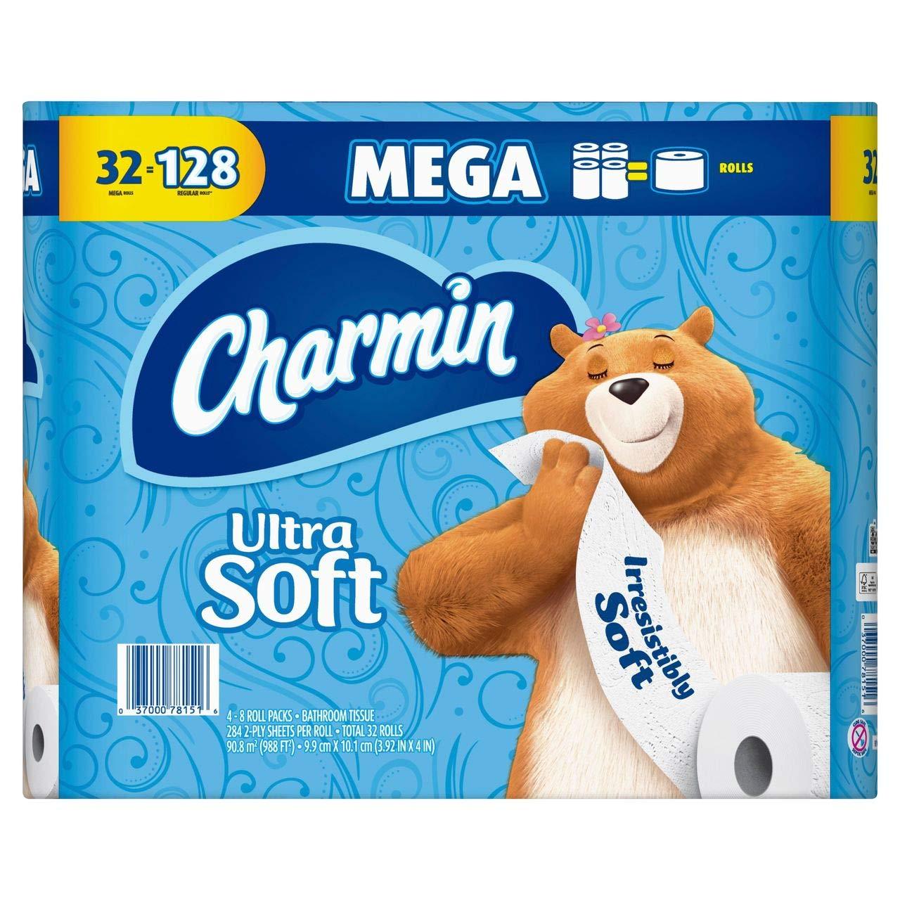 White 18-Pk 284 Sheets Per Roll 2-Ply Charmin Ultra Soft Mega Rolls