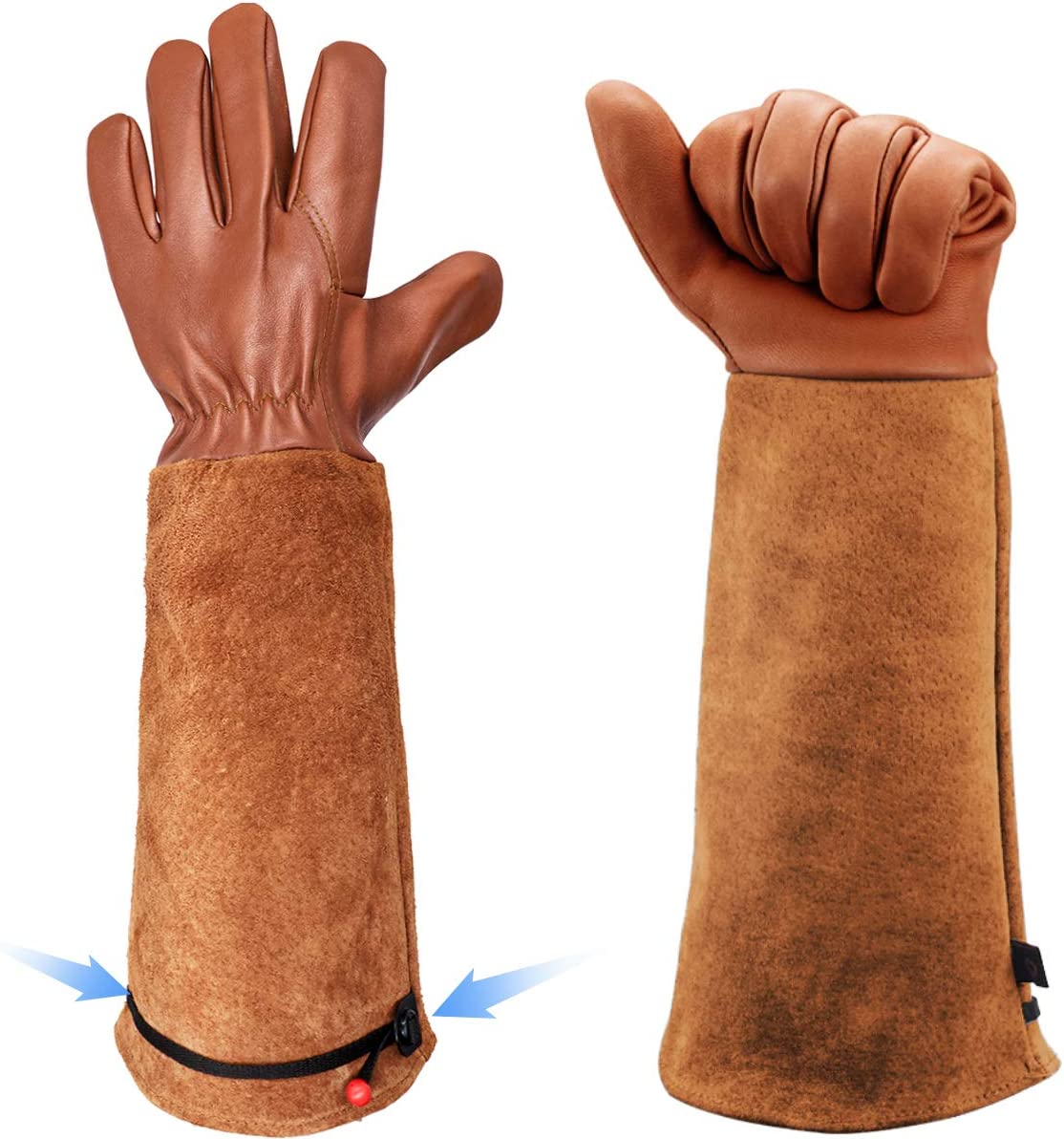 Long Gardening Gloves for Women/Men - Adjustable Cuff Goatskin & Cowhide Thorn Proof Cactus Rose Pruning Gloves Leather Work Gauntlet Puncture Poke Proof Elbow Long Sleeve Garden Gloves for Gardener Gift