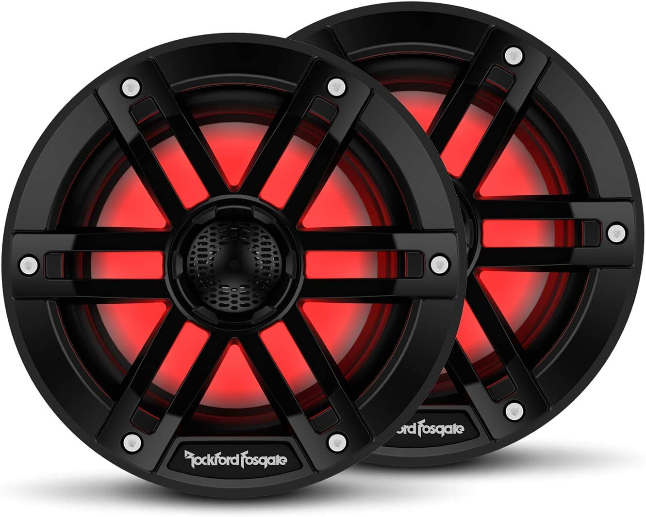 "Rockford Fosgate M1-6B Color Optix 6"" 2-Way Coaxial Multicolor LED Lighted Marine Speakers - Black (Pair)"