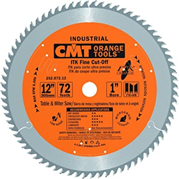 Cmt 252 072 12 Itk Industrial Fine Cut Off Saw Blade 12 Inch X 72 Teeth 1ftg 2atb Grind With 1 Inch Bore Miter Saw Blades Amazon Com