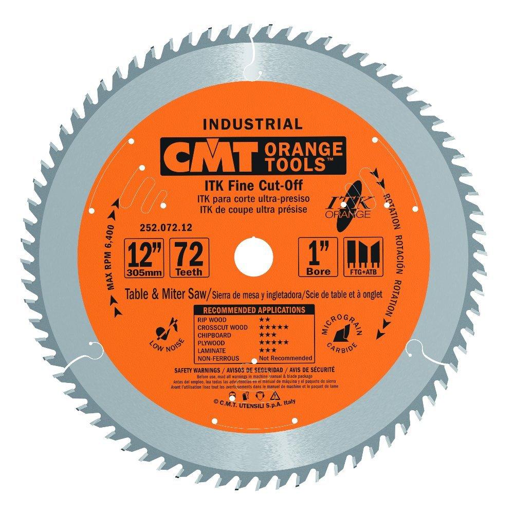 CMT 252.072.12 ITK Industrial Fine Cut-Off Saw Blade, 12-Inch x 72 Teeth 1FTG+2ATB Grind with 1-Inch Bore by CMT