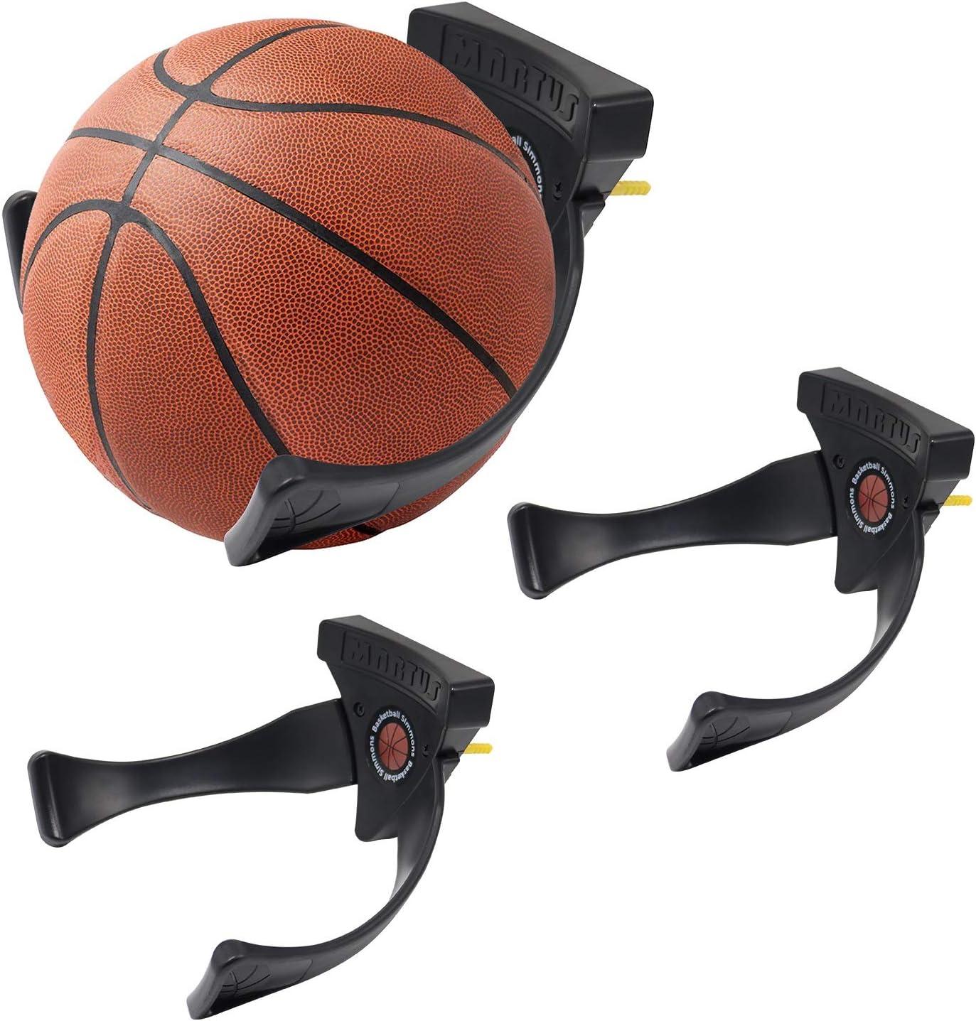 Jolitac Wall Mounted Ball Holder Display Sports Balls Storage and Decoration Shelf Black Self-Sticking Claw Racks