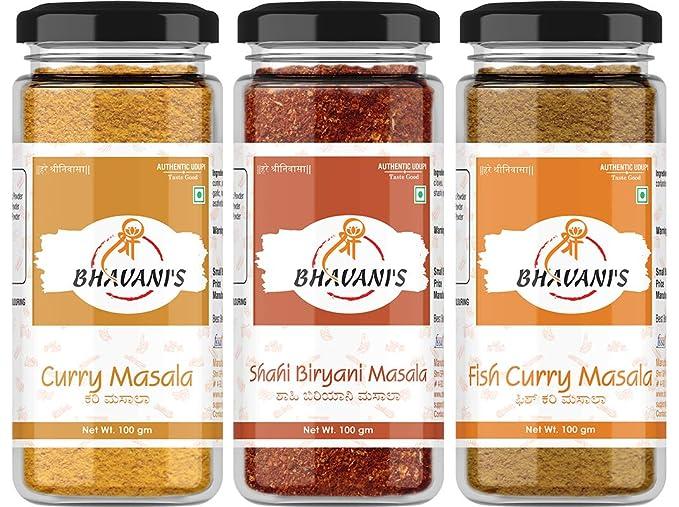 Bhavani's Organic Combo Pack of Curry, Shahi Biryani and Fish Curry Masala Powder, 100 Gram