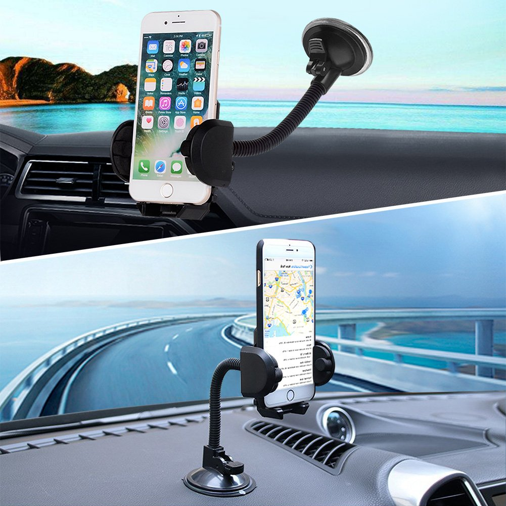 Cell Phone Holder, LotFancy Mobile Phone Car Mount, Universal Long Arm Windshield Car Mount Cradle for GPS iPhone Xs Max XR 8Plus 8 7 7Plus 6 6Plus 5S 5 5C Samsung Galaxy Series Smartphones
