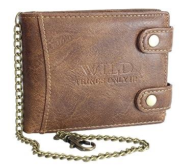 694ea597cfac0 Herren Geldbörse Portemonnaie mit Kette Biker Portmonee Wallet Brieftasche  mehrere Farben (1140) (Braun