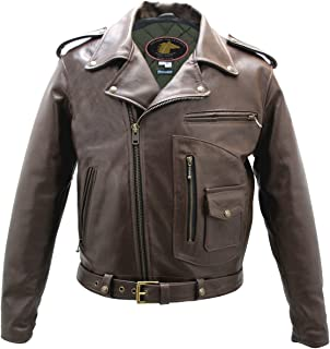 product image for Brown D Pocket Horsehide Motorcycle Jacket (44 Long/Tall)