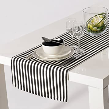 Apart Basic Chemin De Table Raye Noir Blanc 45 X 150 Cm Amazon Fr