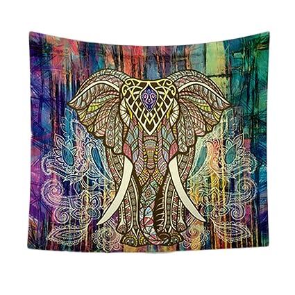 VORCOOL Indian Mandala Tapestry Elephant Printing Beach Towels Yoga Mat Sun Block Round Bikini Cover-Up Blanket 150 x 130CM