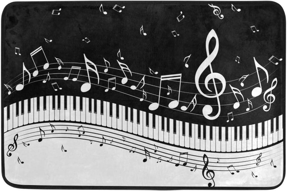 Piano Keys Musical Notes Door Mats White Music Notes Black Blackboard Art Floor Mat Indoor Outdoor Entrance Bathroom Doormat Non Slip Washable Welcome Mats Home Decor 23.6 x 15.7 inch