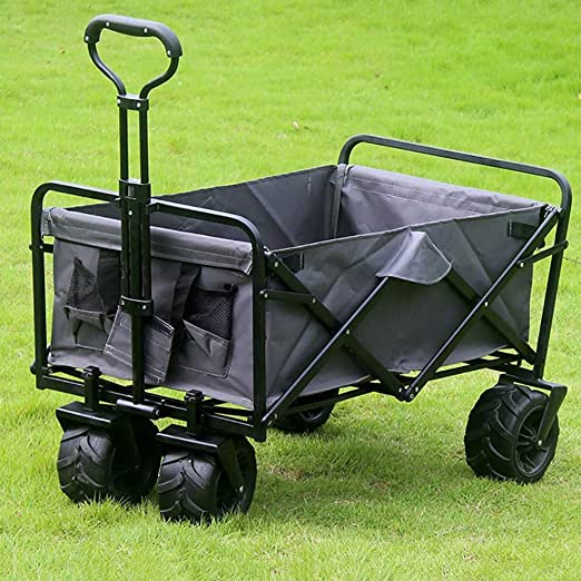 QXTT Plegable Carretillas De Carrito Plegable Mano Carro Folding Wagon Exterior Jardín Colgante Carro Playa Apto para Todo Terreno,Grey: Amazon.es: Hogar