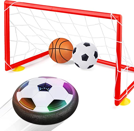Ewer Hover Soccer Ball with LED Light Indoor Hover Ball Toy for 3-12 Year Old Boys Air Power Soccer with Soft Foam Bumpers Kids Football Games Gift for Boys and Girls Indoor /& Outdoor Play