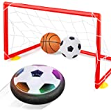 Betheaces Kids Toys Hover Soccer Ball Set with 2 Goals, Air Power Soccer LED Indoor Game Sports Gift Toys for 2, 3, 4, 5…
