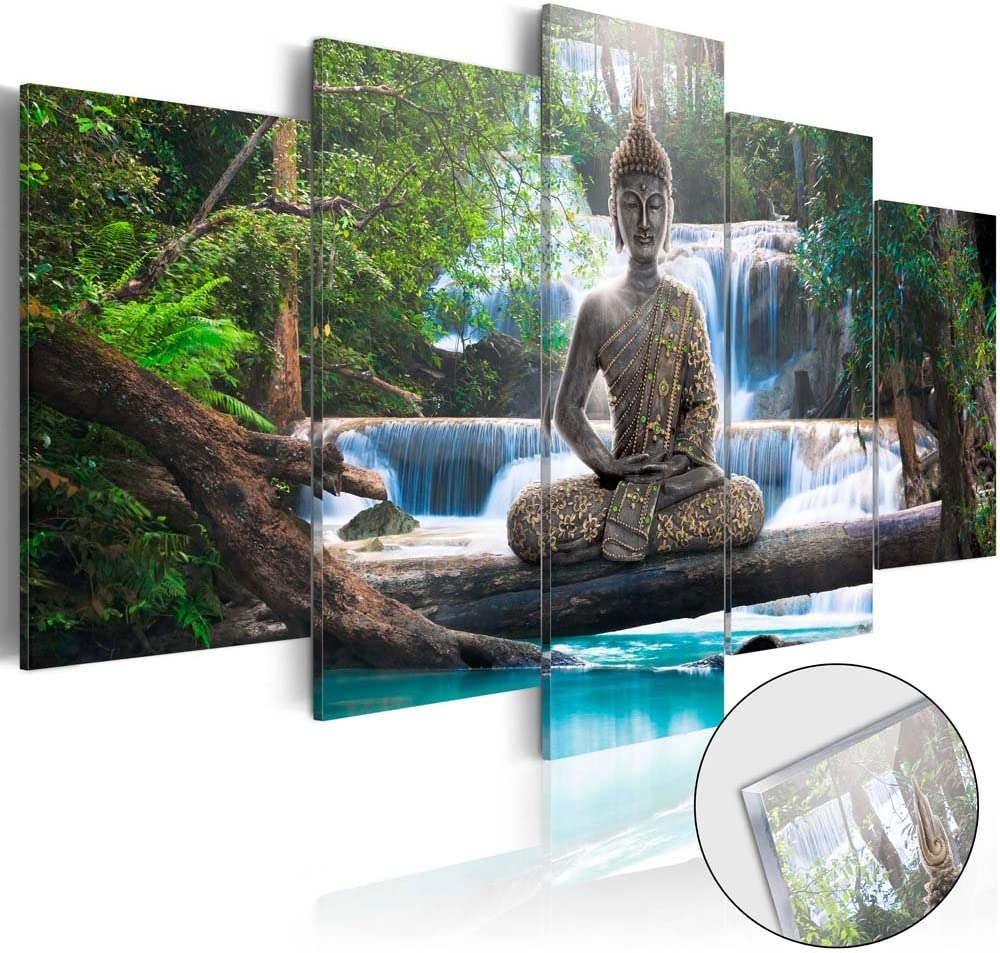 Canvas Print Design Wall Art Painting Decor Zen Decorations for Home Buddha Landscape Artwork Pictures Bedroom (Green, Over Size 40''x20'')