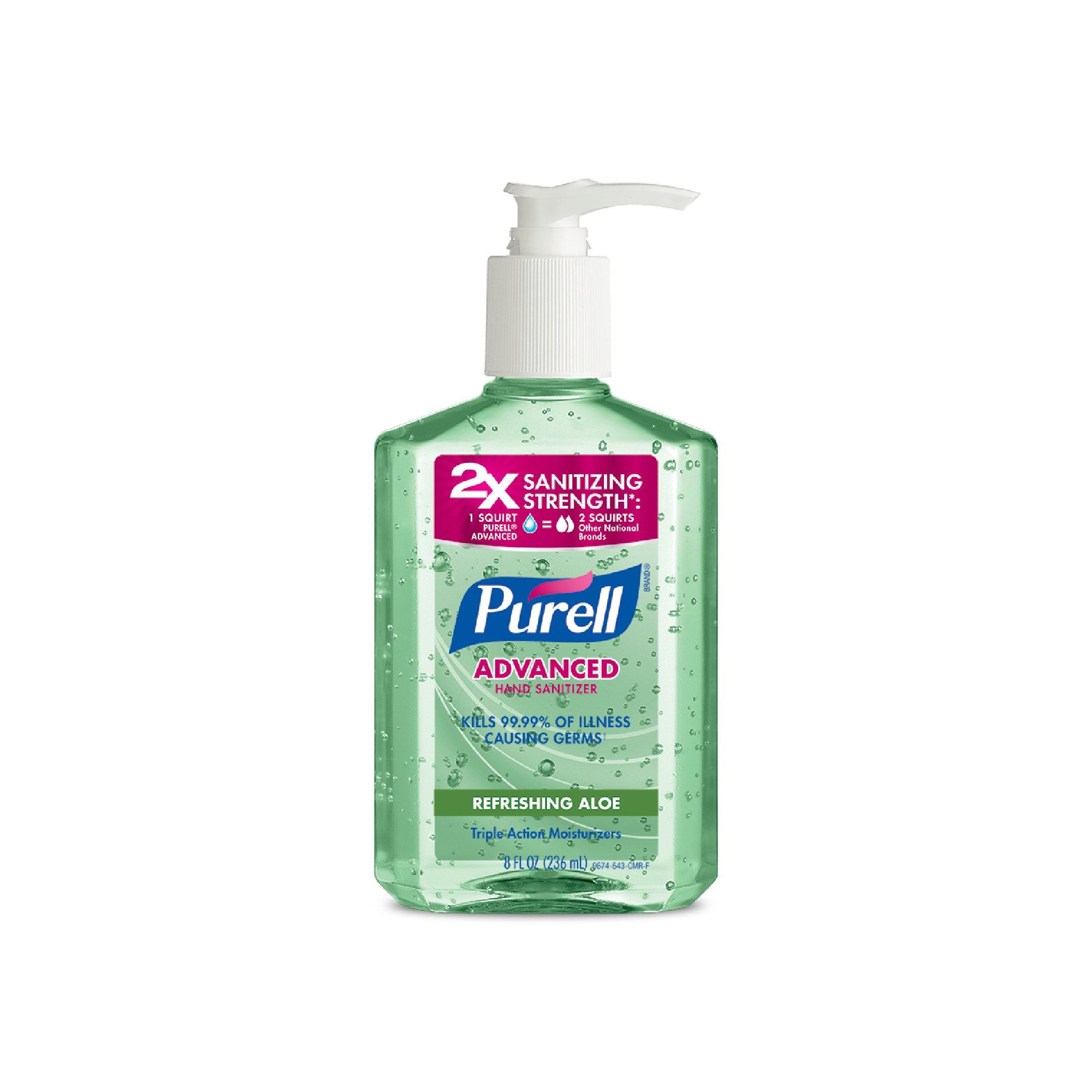 PURELL Advanced Hand Sanitizer with Aloe - Hand Sanitizer Gel 8 fl oz Table Top Pump Bottle (Pack of 2) - 9674-06-EC2PK by Purell (Image #1)