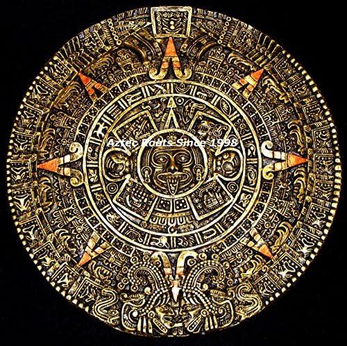 16 Aztec Maya Mayan Solar Sun Stone Calendar Statue Sculpture Wall Plaque Xiuhpohualli Tonalpohualli Mesoamerican Mexican Mexico Ancient Aliens Chariots of The Gods Art 013