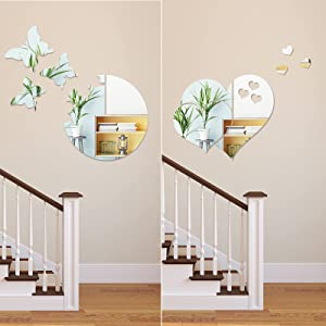 2 Set 3D Acrylic Mirror Wall Decor Stickers DIY Silver Butterfly Heart Mirror Stickers Removable Mural Stickers for Wall Home Bedroom Living Room Decoration
