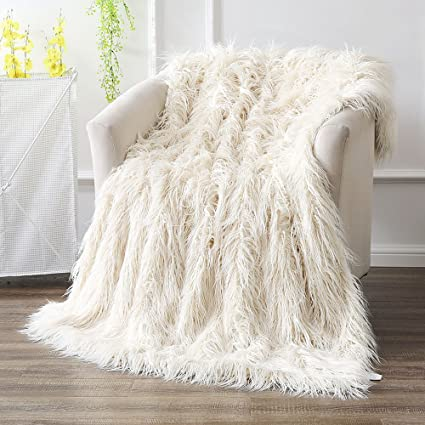 Ojia Super Soft Fuzzy Shaggy Mongolian Lamb Faux Fur Throw Blanket Plush  Warm Cozy Elegant Long 1f4bfcca98e7d