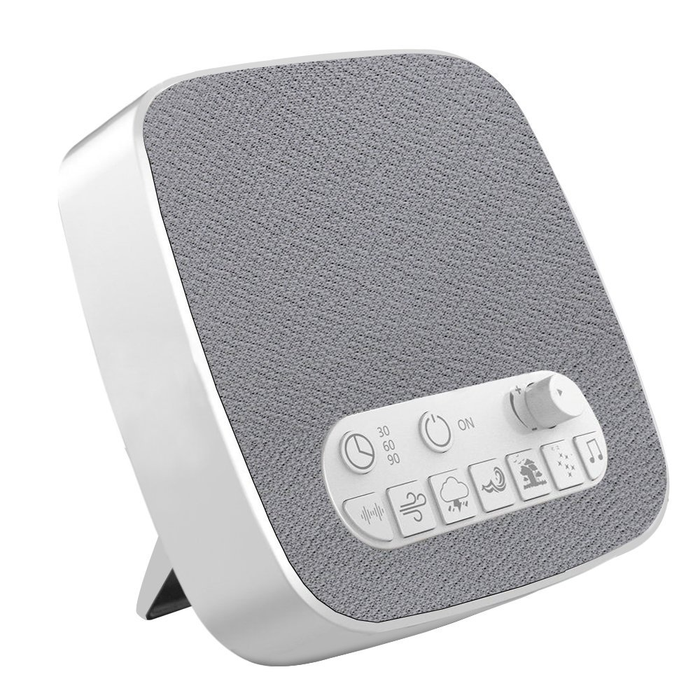 White Noise Machine, Electype Portable Sleep Therapy Sound Machine with Auto-Off Timer and USB Output – 7 Kinds of White Noise Relaxing Soothing Natural Sound – for Baby, Kids, Adult, Light-Sleeper