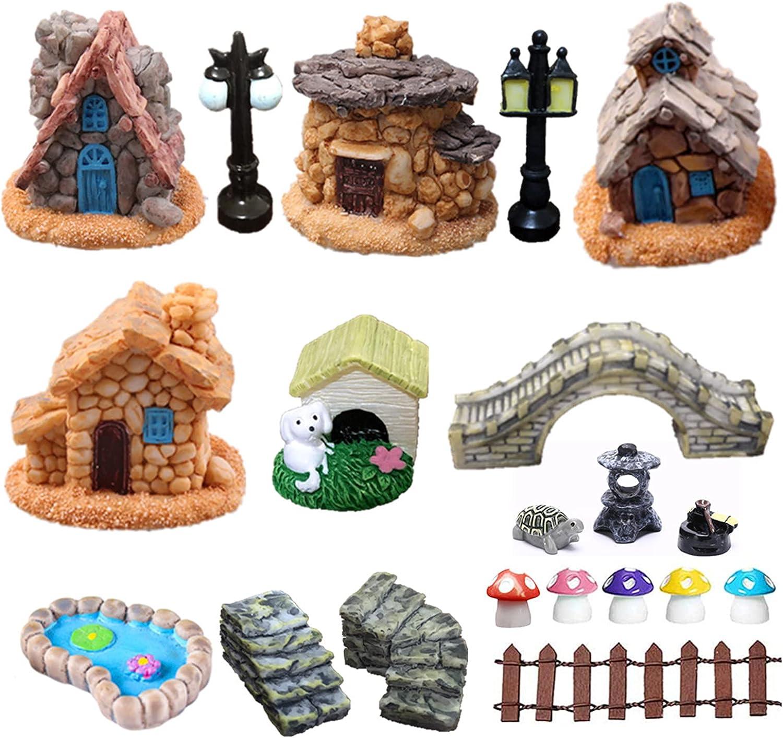 20PCS Fairy Garden Accessories, Miniature Garden Decorations Fairy Garden Supplies Ornaments kit Micro Landscape Yard Bonsai Lawn Garden Craft Sculpture Indoor & Outdoor Decor