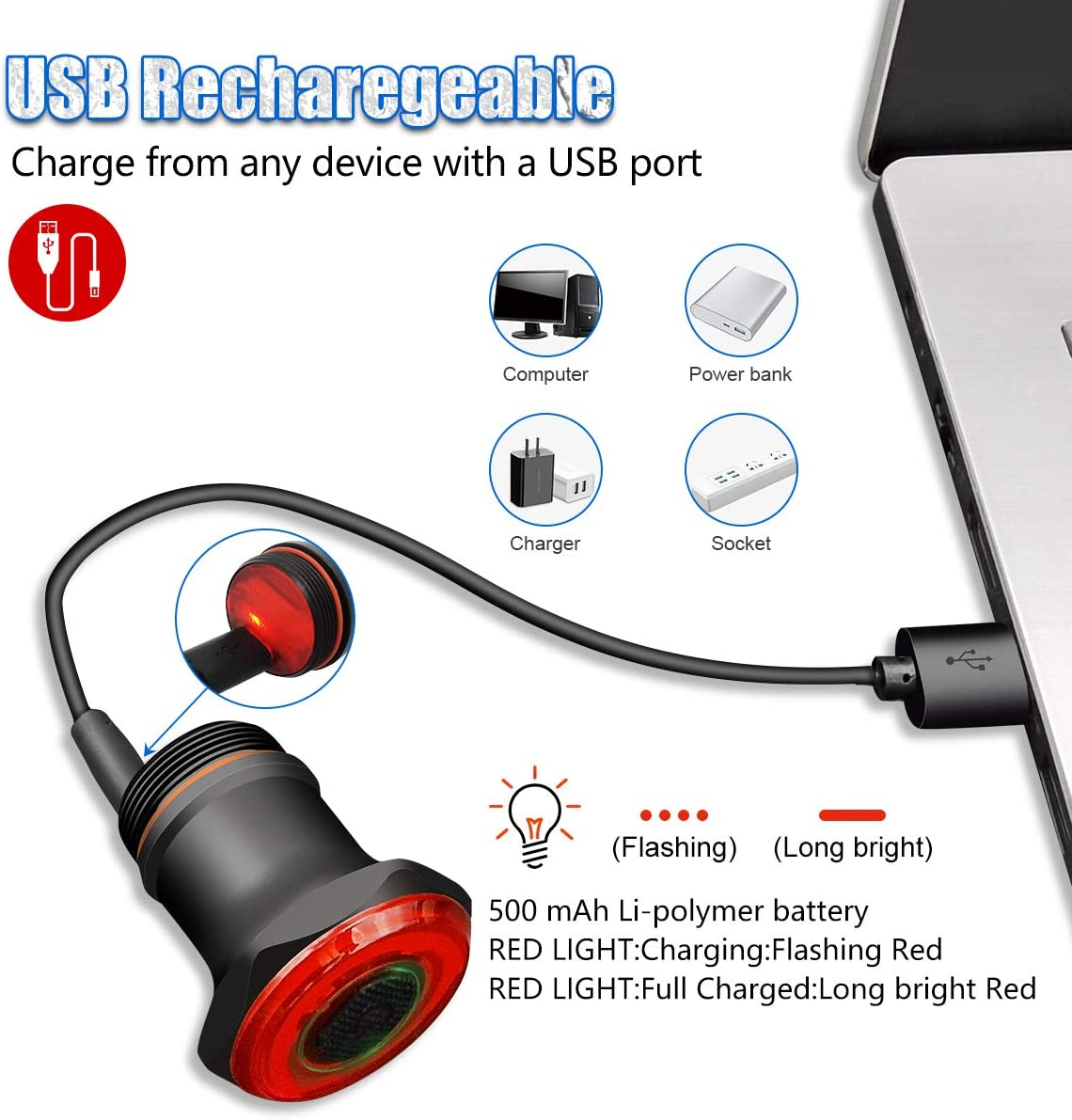IPX6 Waterproof with 7 Light Modes Bicycle Tail Light for Any Road Bikes GXIN USB Rechargeable LED Smart Bike Tail Light Auto On//Off Light Sensing Ultra Bright Brake Sensing Rear Bike Light