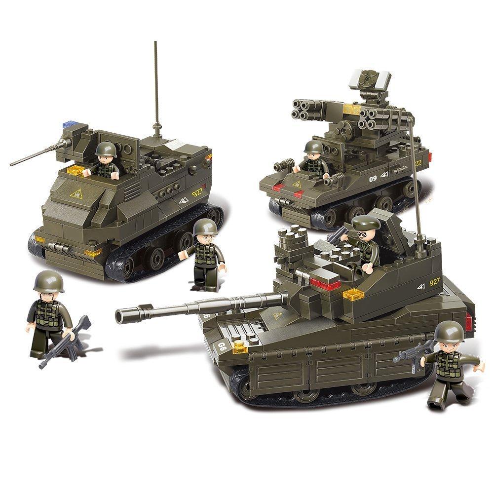 Sluban M38-B0290 Joint Military Exercise Set Blocks Army Bricks Toy -Amphibious Armored Car & Leopard II Tank & Tor Anti-Aircraft Missiles