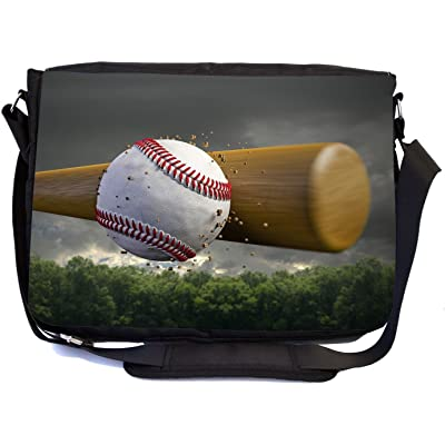 Rikki Knight Baseball and Bat in Field Design Design Multifunction Messenger Bag - School Bag - Laptop Bag - with padded insert for School or Work - includes Pencil Case
