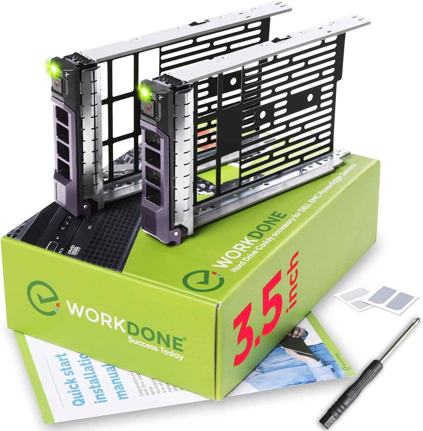 WORKDONE 2-Pack - 3.5 inch Hard Drive Caddy - Compatible for Dell PowerEdge Servers - with Detailed Installation Manual - Sled Front Sticker Labels - Screwdriver- Added HDD Tray Screws