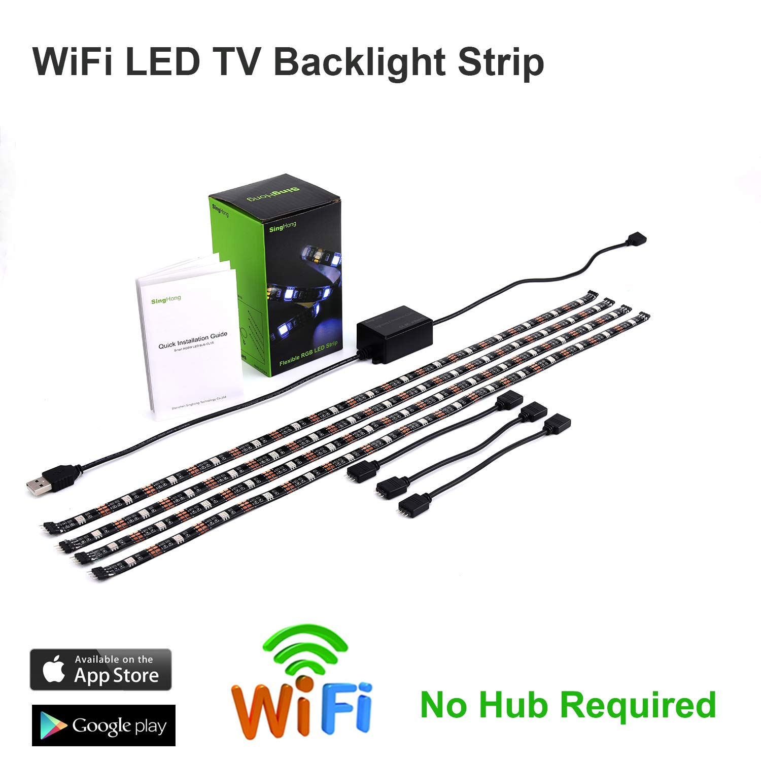 WiFi LED TV Backlight Strip, Compatible with Alexa and Google Home, USB Powered (5V DC), Flexible RGB 5050 Strips, Colour-Changeable Dimmable LED Strip (New Version) Ltd