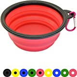 Zenify Dog Bowl - 400ml Collapsible Foldable Food and Water Feeder Dish - Portable Travel Leash Lead Slim Accessories for Training Pets Puppy Dogs (5 inches / 12.7 cm) (Pink/Black)