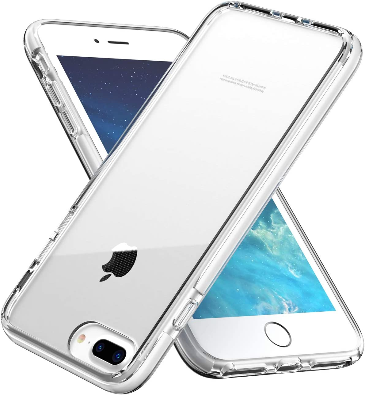 EYZUTAK Crystal Clear Case for iPhone 6 Plus 6S Plus 7 Plus 8 Plus,Anti-Yellow Ultra Thin Silicone Soft Shockproof TPU Bumper Case for iPhone 6 Plus/6S Plus/7 Plus/8 Plus - Clear Back & White Frame