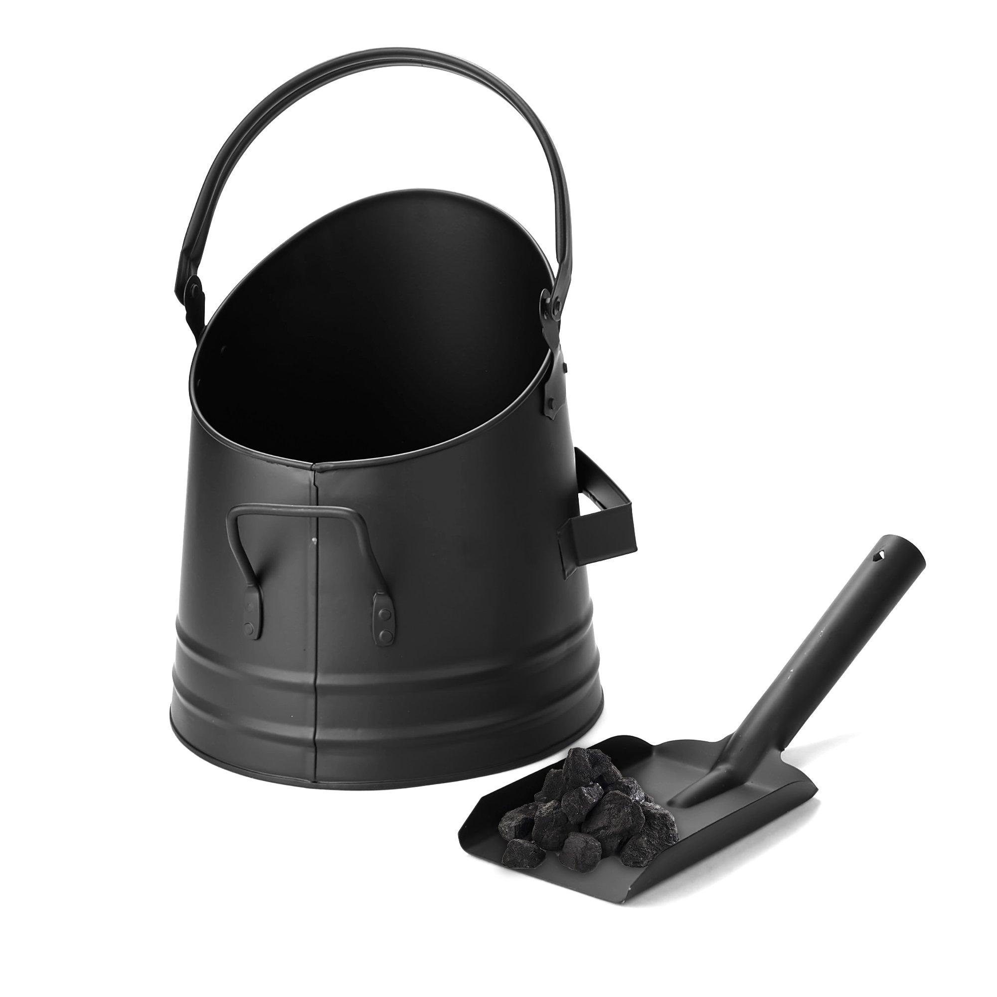 Mind Reader MASH-BLK Large Fire Place Ash Bucket, Pellet Bucket with Shovel, Black