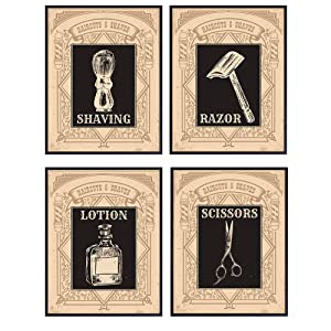 Vintage Barber Shop Wall Decor for Bathroom, Bath or Salon – 8x10 Retro Poster Print Set - Home Wall Art, Room Decoration - Unframed Barbershop Pictures – Gift for Hairstylist, Hair Stylist