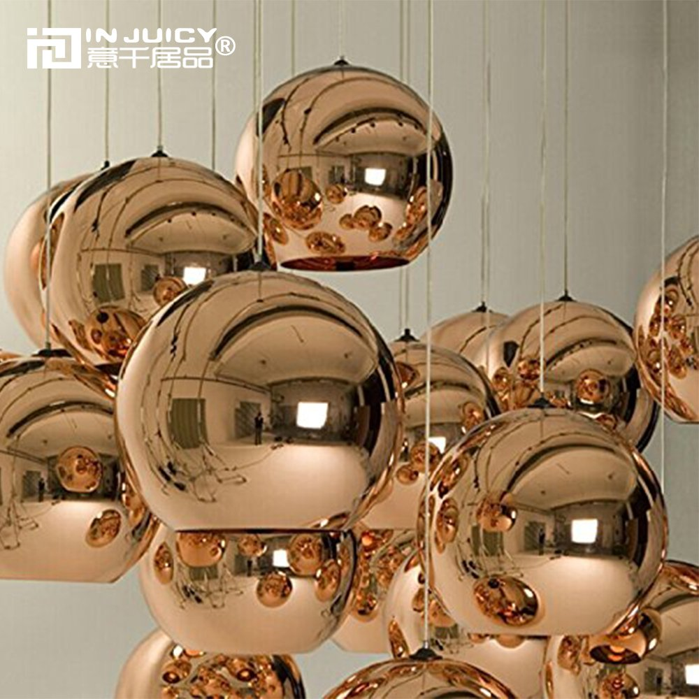 Injuicy Lighting Tom Dixon Rose Gold Glass Globe Electroplate Edison Ball Pendant Lights Zorbing E27 Socket Ceiling Lamps Single Head for KTV Dining Room Bar Hotel Corridor Restaurant(Dia. 7.87 Inch)