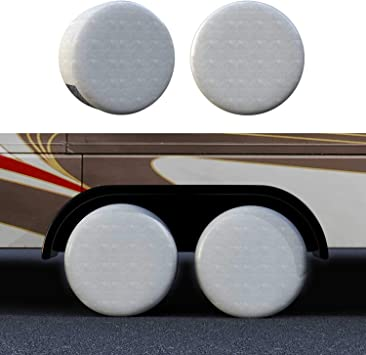 Fits 27 inches to 29 inches Tire Diameters for RV Wheel Motorhome Wheel Covers Sun Protector Waterproof Aluminum Film Cotton Lining 4 Sets Tire Covers