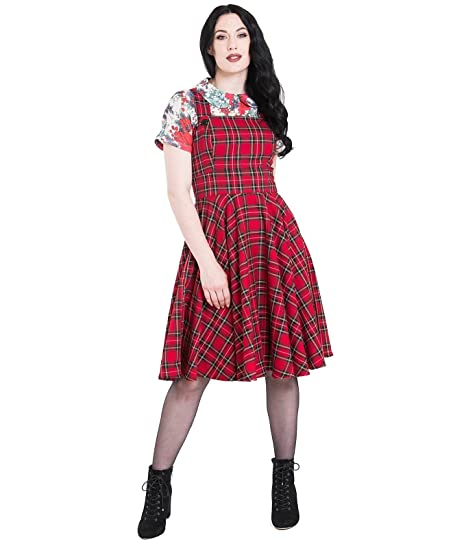 7028449359fd5 Hell Bunny Irvine Vintage Style Red Tartan Pinafore Dress: Amazon.co.uk:  Clothing