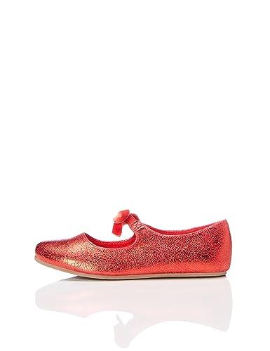 RED WAGON Mädchen Glitzer Sneaker, Rot (Red/Silver), 32 EU