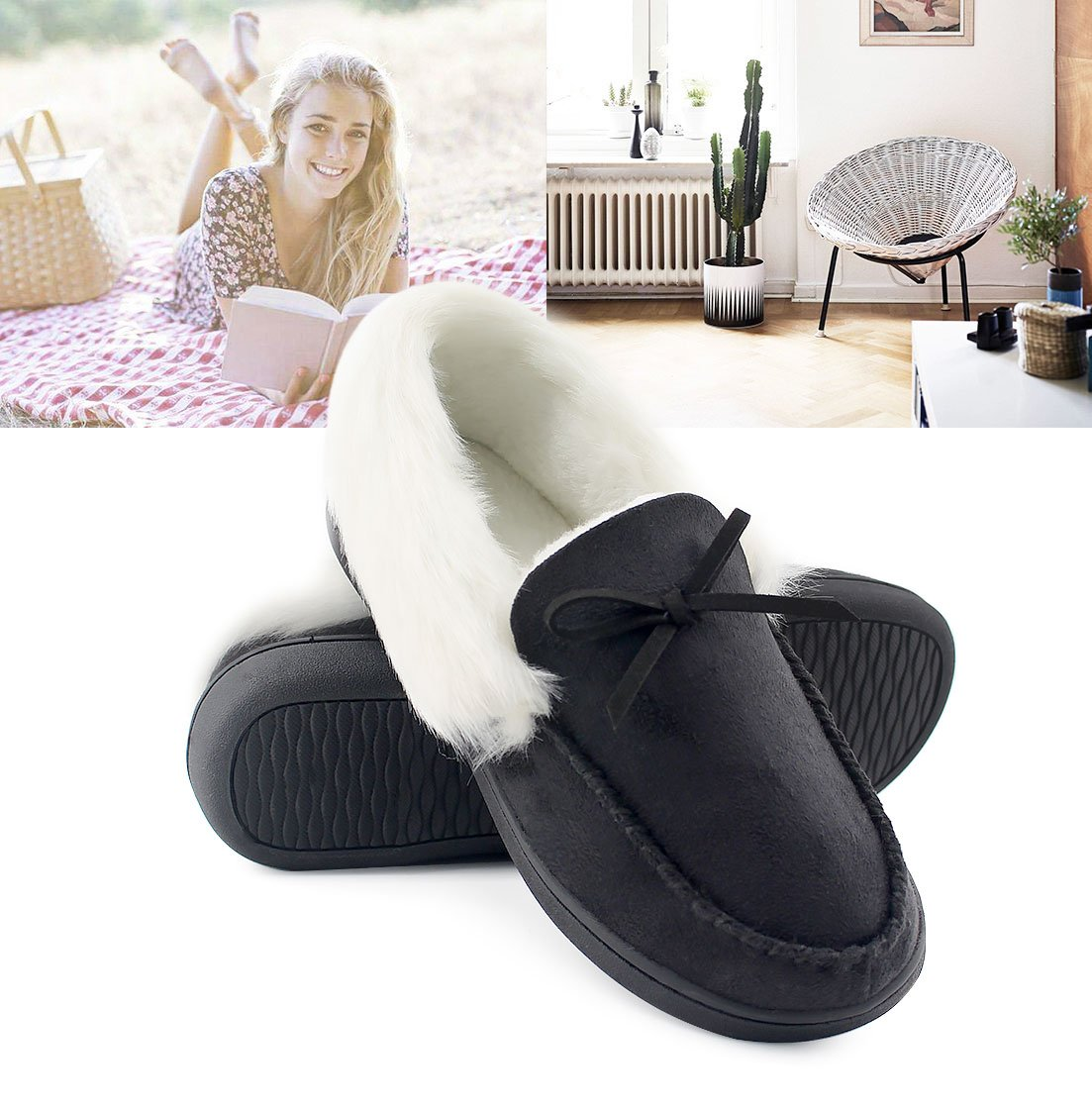 HomeIdeas Women's Faux Fur Lined Suede House Slippers, Breathable Indoor Outdoor Moccasins (7 B(M) US, Black) by HomeIdeas (Image #5)