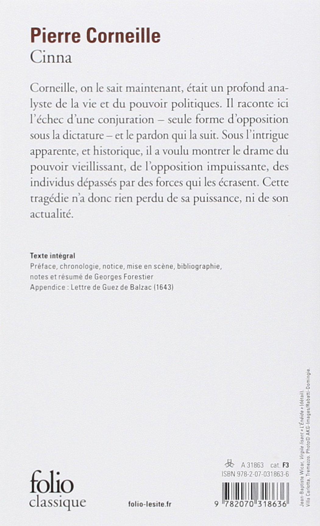 Cinna Folio Gallimard French Edition Pierre Corneille