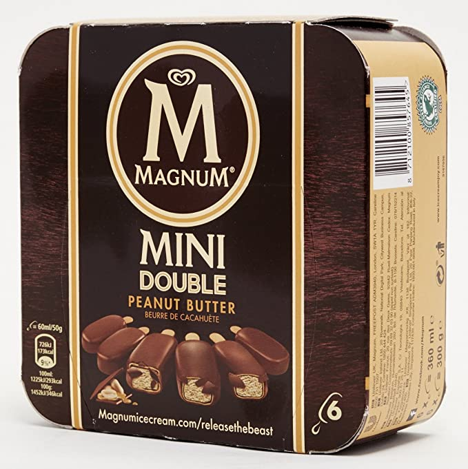 Magnum Mini Double Peanut Butter Helado - Paquete de 6 x 60 ml - Total: 360 ml: Amazon.es: Alimentación y bebidas