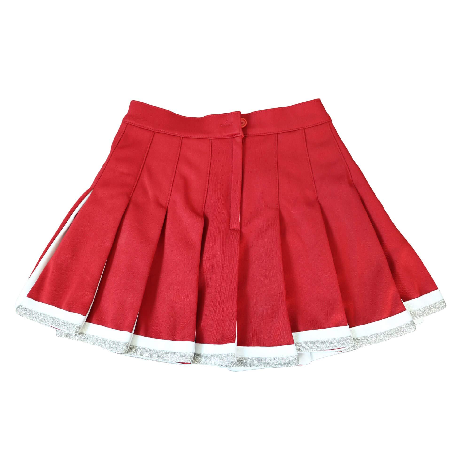 Danzcue Child Cheerleading Pleated Skirt, Scarlet/White, X-Small